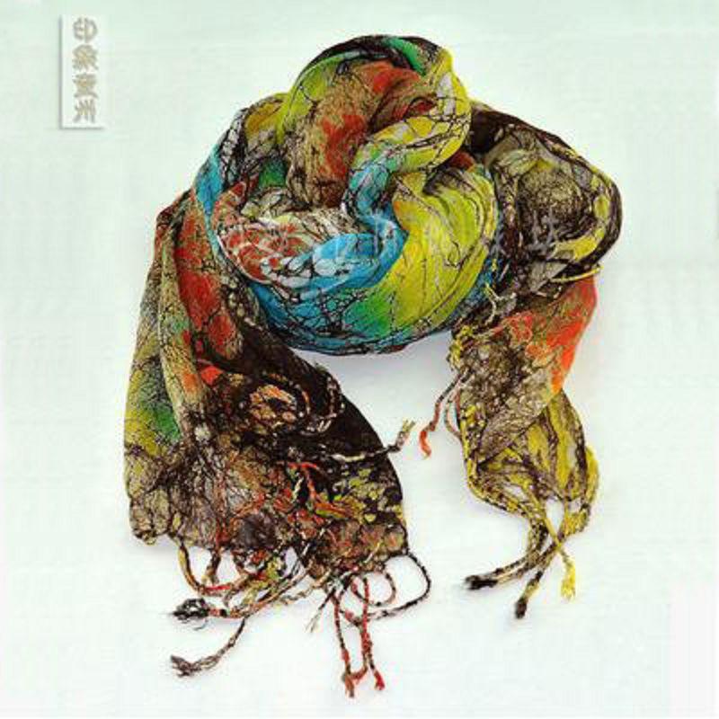 ~蠟染圍巾~ ~炫彩冰紋薄款~60^~170~梳邊14cm~1件 組~純棉蠟染貴州特色 藝