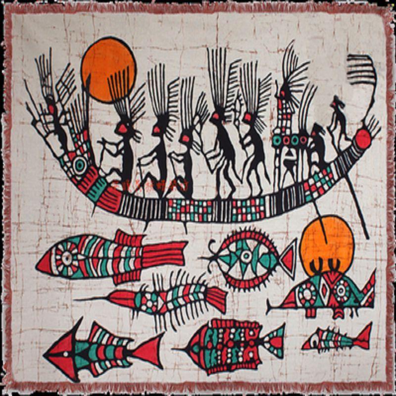 ~手繪蠟染壁畫~羽人打魚~80~64cm~1件  組~手繪單畫貴州少數民族特色 藝品家居裝