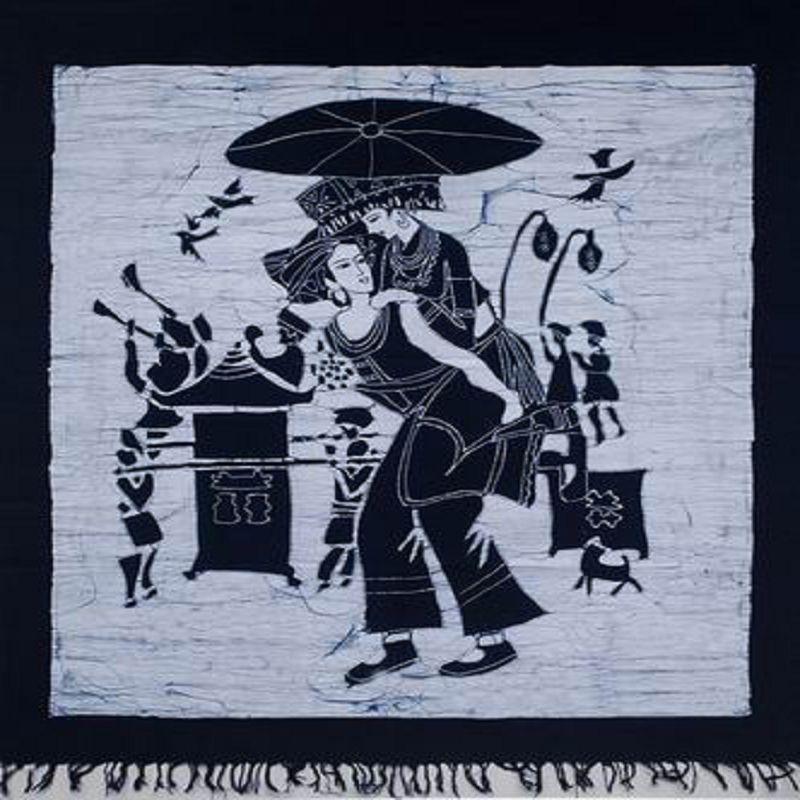 ~蠟染畫芯~藍白精典A~85~110cm~1件  組~重彩蠟染雲南少數民族特色 藝品家居裝