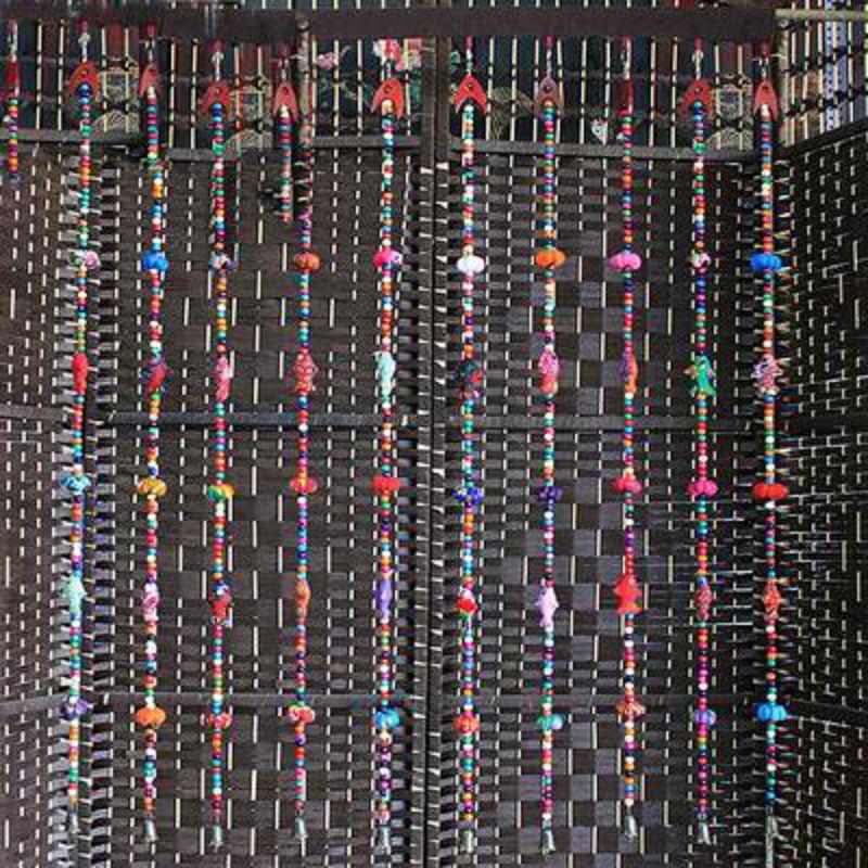 ~布藝門簾加杆~布藝花朵木珠~85~110cm~1套  組~ 製作簾子民族工藝品家居裝飾隔