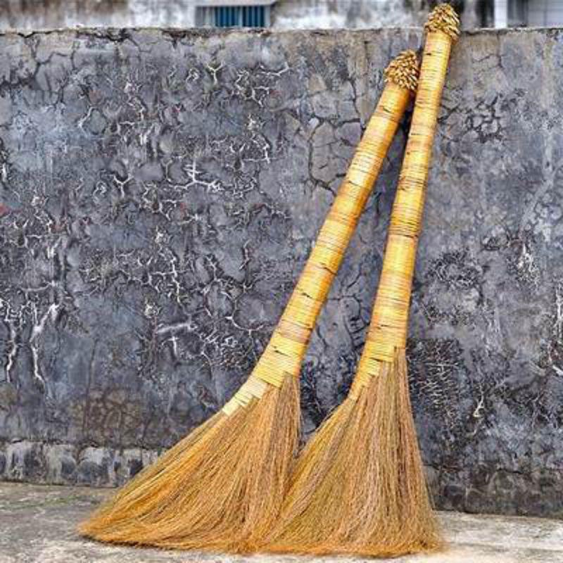 【蘆葦掃把-九層寶頂款-6*40*95cm-2把/套-1套/組】手工編去毛髮木地板專用植物鬃毛掃把 除塵軟毛笤帚長手柄-38009
