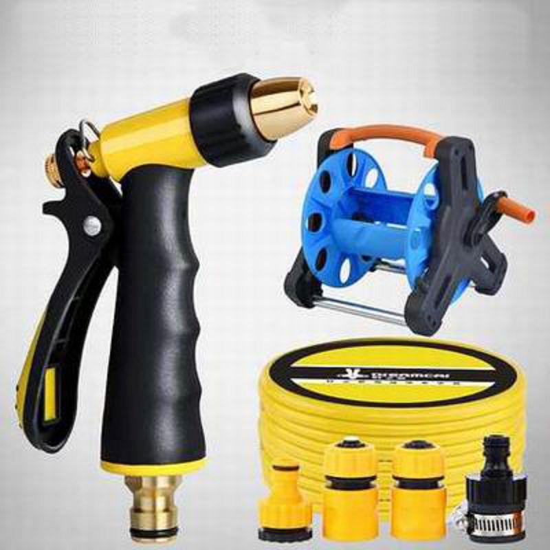 【金屬水槍15米套裝/水槍套裝20米-1款/組】洗車/家用水管車(帶收納架、2米水管、2個接頭)-527001