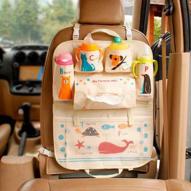【車載收納袋-普通版-多款可選-1款/組】加厚卡通車用座椅椅背掛袋收納袋置物袋-527004