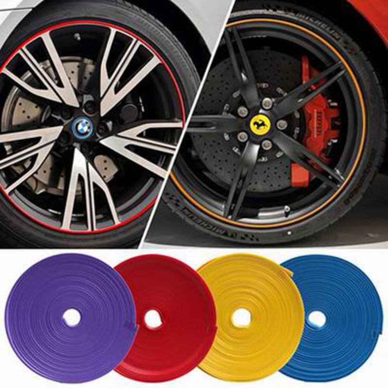 ~汽車輪轂裝飾條~寬0.8cm^~8米 卷~1卷 組~輪胎鋼圈裝飾貼防擦條防刮防撞條輪轂保