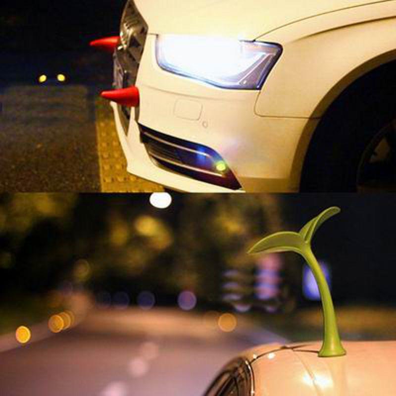 【立體裝飾車貼-惡魔牛角-2個/組】防撞利器車外部車身防撞條車貼發條改裝通用品-527008