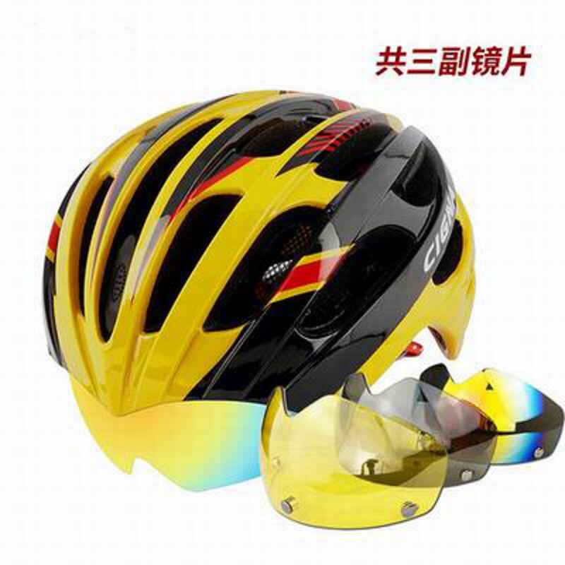 【一體式風鏡頭盔-L碼-適合57-61cm-1套/組】單車帶擋風鏡男女騎行頭盔(含三副鏡片)-527058
