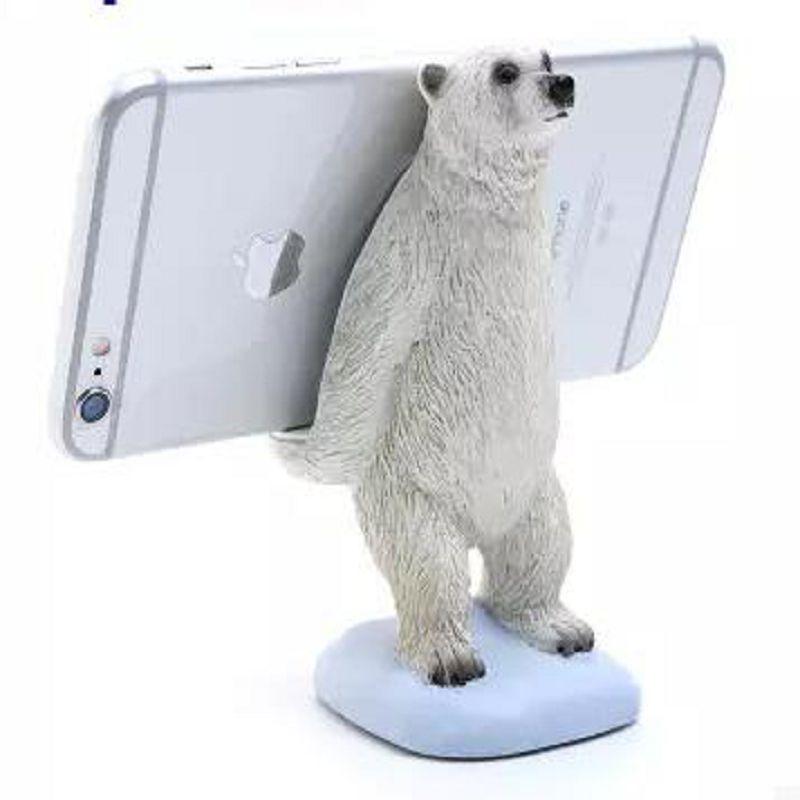 ~手機座~北極熊~樹脂~高13釐米~重275克~1個 組~手機座 手機支架桌面手機座可愛手