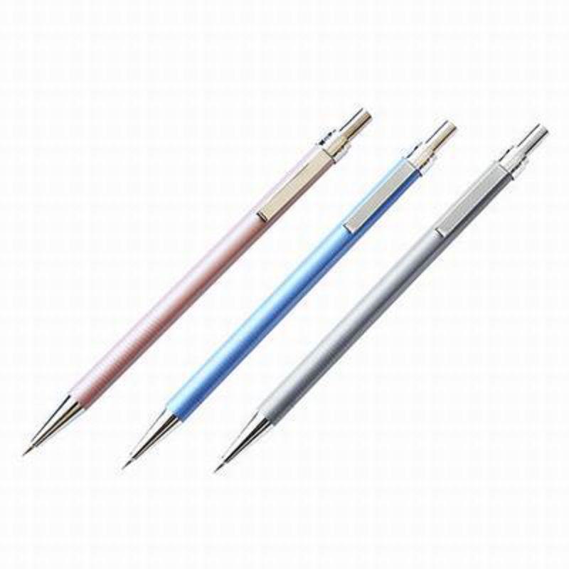 【金屬筆桿自動鉛筆-筆芯2B-0.5/0.7mm-1款/組】活動鉛筆筆尖帶伸縮裝置隱形橡皮(可混搭)-586003