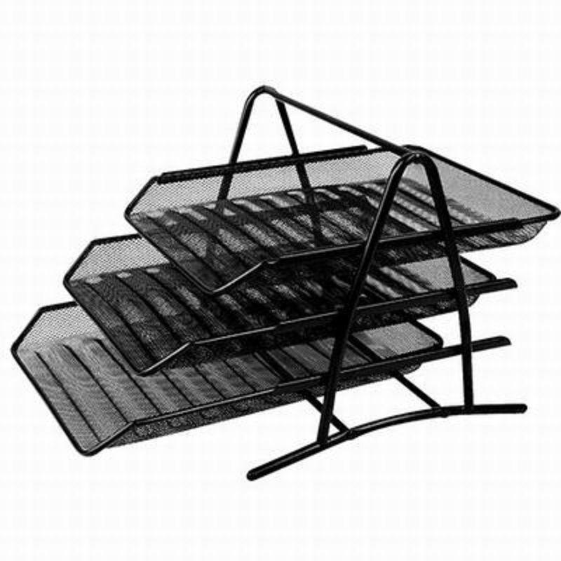【A4網狀三層檔座-9181-35*27.8*27.5cm-1套/組】資料籃收納架金屬商務辦公檔架-586003