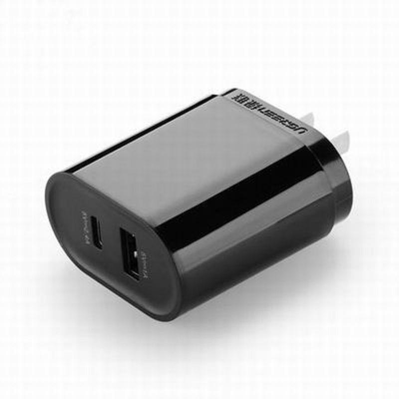 【Type-C+USB雙口充電器-CD100-1個/組】智能1A手機平板通用2.4A 12寸MacBook Type-C接口-586062