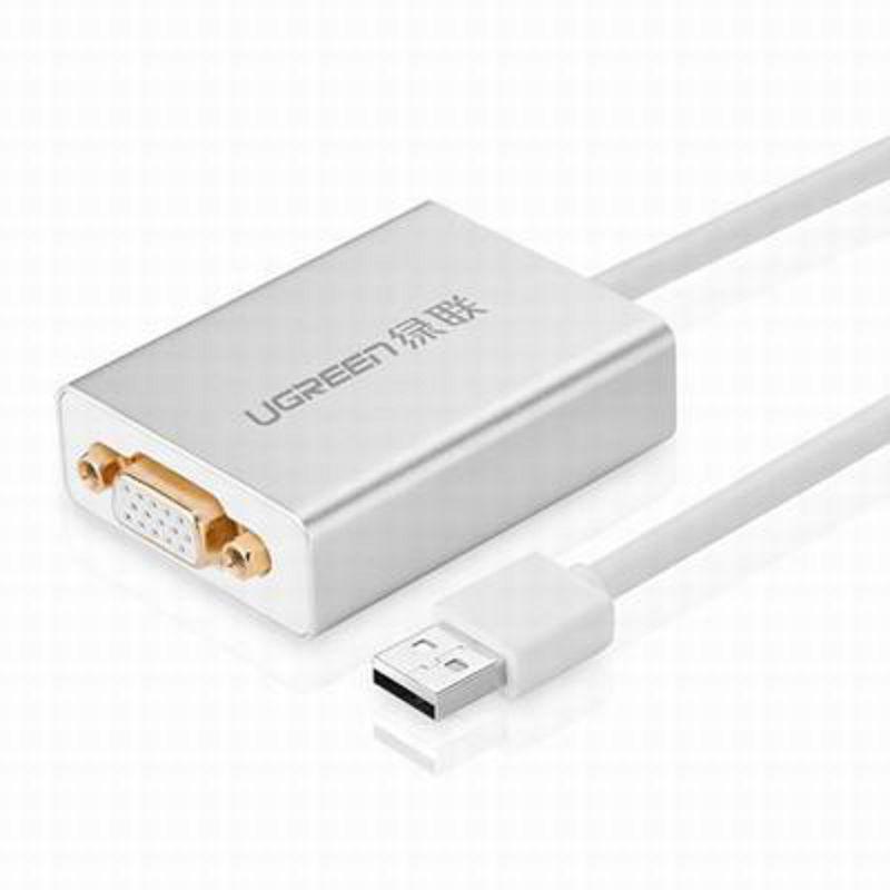 ~USB2.0轉VGA轉換器~40244~線長80cm~1套 組~外置顯卡轉接線鋁合金殼筆