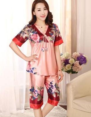 ~睡衣套裝~模擬絲~1套  組~新品 女式性感模擬絲短袖 絲綢印花睡衣套裝家居服~7160