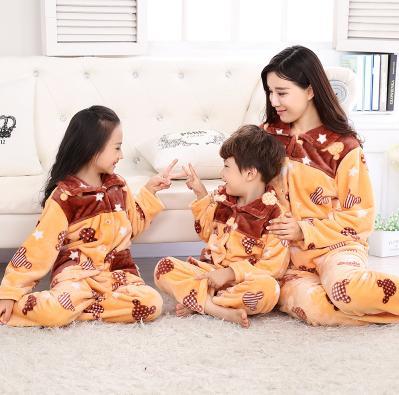 ~兒童睡衣~珊瑚絨~秋 ~親子裝小童~1套  組~親子裝家庭套裝母女裝男童女孩法蘭絨家居服