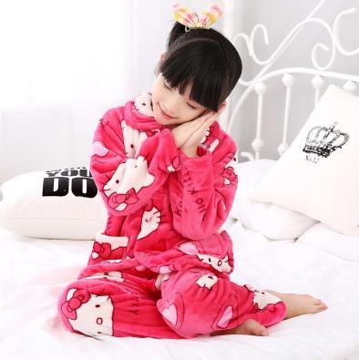 ~男女童睡衣~法蘭絨~110 120 130碼~1套 組~兒童睡衣法蘭絨秋 長袖套裝男女童