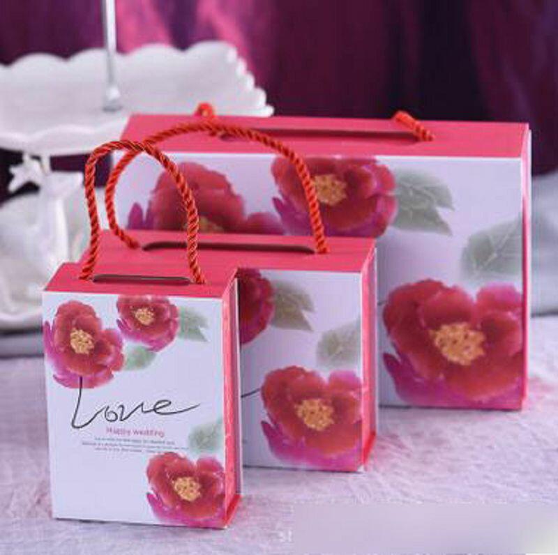 【婚禮回禮贈品-喜糖盒-硬卡-中號-6個/組】長16.8*寬11.8*厚5.3CM 婚慶用品喜糖包裝盒翻蓋-726001