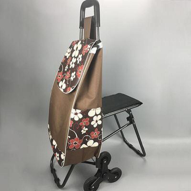 【購物車-F款-經典六輪帶座椅-可折疊-牛津布-1個/組】新款可?式購物車爬樓買菜車小拉車-726002