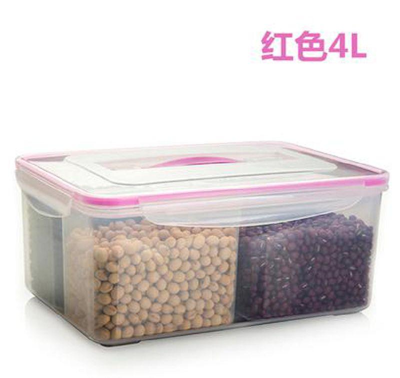 【保鮮盒-四分格-4L-PP+硅膠-1個/組】保?盒塑料密封盒冰箱收??盒分隔水果便?盒?方形-726004