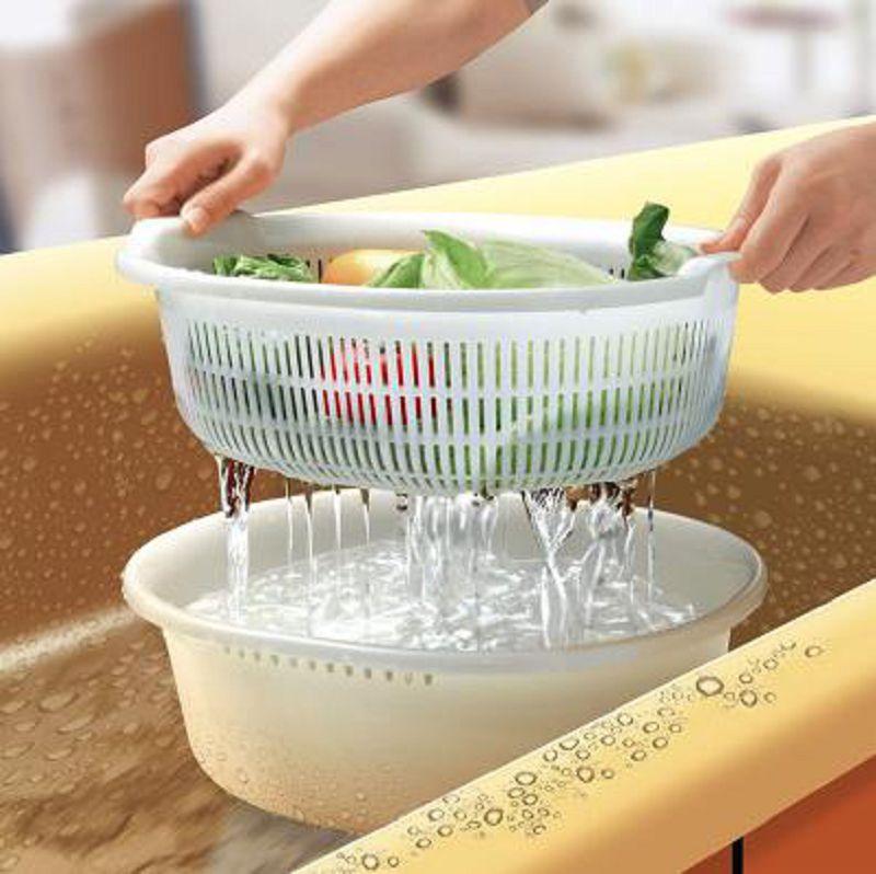 【雙層洗菜籃瀝水盆-PP-32.8*29.2*11.6CM-1個/組】廚房塑膠雙層瀝水果盤果盆水果籃-726004