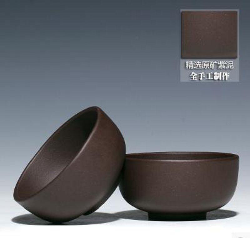 【小茶杯-紫泥-長6.3高3CM-2個/組】宜興紫砂壺杯口杯茶碗茶具全手工紫泥杯-726005