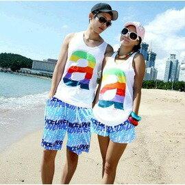 休閒情侶背心 a字母情侶T恤 工字背心 沙灘情侶套裝-7601001