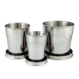 便攜不銹鋼防漏大口伸縮三節杯折疊茶酒水杯-7601001