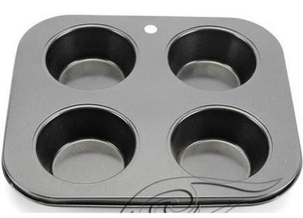 【不粘烤盤-鐵制-A2四杯烤盤】烘焙工具 蛋糕模具 烤箱用 做蛋糕的工具(烤盤21.5*19*2.8cm,圓7~5cm)-8001001