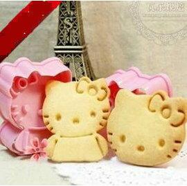 【餅乾模-塑膠-立體-2件套-kitty貓】立體餅乾模具 kitty貓造型 烘焙工具 創意飯團模具(頭5.5*4.9*2.2身5.8*4.8*2.2cm)-8001001