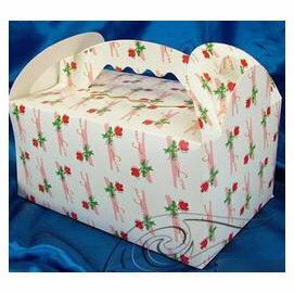 【免折手提盒-一枝花-300g銅版紙-15個/組】蛋糕盒 西點盒 點心盒(21.8*13.7*15.5cm(含手提)),15個/組-8001001