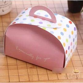 【點心盒-白卡-粉色水玉圓點-8寸-12個/組】手提小蛋糕盒 糕點心巧克力慕斯糖果餅乾包裝盒(15.8*8.8*11cm)(多色可選)-8001002