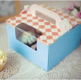 【點心盒-手提-4格-4寸-粉藍-5個/組】西點盒 馬芬蛋糕盒 慕斯杯 木糠杯(16.5*16.5*10cm(不含手提),內托徑6cm)-8001002