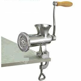 【絞肉機-手動-不銹鋼-8號(台夾式)】家用絞肉機 手搖碎肉攪餡送灌香腸器(15.5*24,進料口徑7.7*7.7,出肉板孔徑4.5cm)-8001004