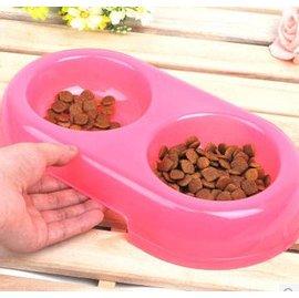 【寵物碗-雙口碗-塑膠-113004-2個/組】狗狗碗 環保水碗 兩用雙盆寵物碗 半透明 貓碗飯碗,碗口直徑11 底座直徑30 碗深4cm,2個/組-79011