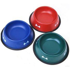【寵物碗-單口碗-烤漆不銹鋼-加小號15-2個/組】狗狗貓咪碗 寵物食具 小型犬中型犬,加小號--底直徑16 口直徑11.5 深3cm,2個/組-79011