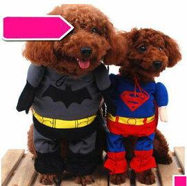 【寵物服裝-超人裝蝙蝠俠-春夏秋-兩款可選-1號-2件/組】寵物狗狗貓咪衣服 兩款可選,1號:頸圍18-22cm,肩高大約15cm以下-79011