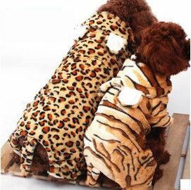【寵物服裝-老虎豹紋變身裝-秋冬-4規格可選】寵物狗狗貓咪衣服 四腳棉衣  ,規格:S/M/L/XL(請對照尺碼說明)-79011