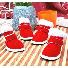 【寵物喜慶鞋-聖誕鞋-橡膠底-5規格可選-4只/包】防滑寵物鞋 狗狗保暖休閒鞋 規格:1號~5號(請對照尺碼說明)-79011