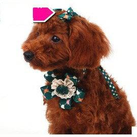 ~寵物領花~配2個髮夾~繩長56cm~頸圍18~50cm~高檔華麗狗狗領結 貓咪飾品 貴賓