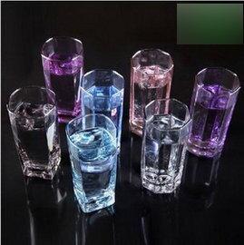 【青蘋果系列玻璃杯-300ml-八角杯、四角杯-4個/組】透明水杯威士卡杯冰藍彩色杯子果汁杯啤酒杯,多款可選可混搭,量大從優-7501008
