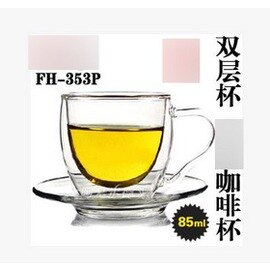~碧月咖啡杯~雙層套杯~FH~353P~80ml~口徑6^~高7cm~2套 組~耐高溫玻璃