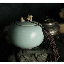 【陶瓷密封罐-如意-汝窯-寬9.5*高8.6cm-1套/組】如意茶葉罐 開片 紅茶普洱茶鐵觀音 小可愛-7501016