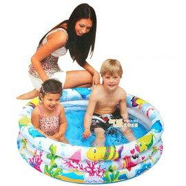 【兒童圓形三環充氣水池-海洋世界-135L-外徑107(內徑88)*25cm-1套/組】兒童水池 游泳池 海洋世界圓形三環水池 充氣水池-76033