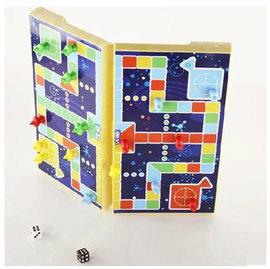 【折疊磁性立體飛行棋-UB-中號-棋盤24.6*21.6*2cm-1套/組】磁性折疊棋盤飛機益智類兒童玩具節日禮物(棋盤*1+棋子*16+骰*2)-56017