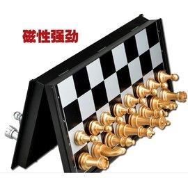 ~磁性折疊國際象棋~3810A~中號~棋盤25~25~2cm~1套  組~超大中號磁性金銀