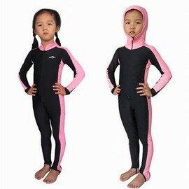 【連體泳衣褲套裝-帶帽兒童款-1套/組】潛水水母衣 防曬防水母 潛水服游泳衣 男女兒童款 彈性沙灘衣浮潛衣服-76005
