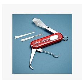 【六功能口腔用具-不鏽鋼+塑膠-5.85*0.95cm-2套/組】 牙勾、牙籤、牙縫刷、刮舌器、刮器、鏡子 旅遊便攜-56035
