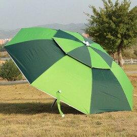 【雙層萬向二折釣魚傘-傘寬2.1*高2.2米-收縮長1.1米-1套/組】加厚橡膠布釣魚傘 遮陽傘 2.2米(配地插及防風叉)-76016