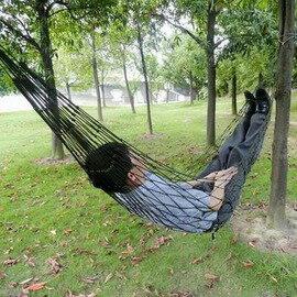 【戶外單人尼龍繩網面吊床-80*200cm-2套/組】便攜式 軍綠色 吊床繩子加粗型 高品質吊床 吊椅 戶外用品(含2條1米長繩)-76007