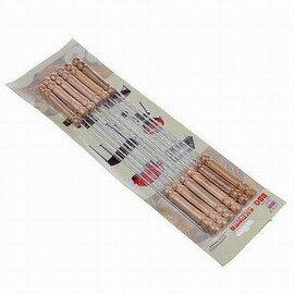 【燒烤針-木柄鍍鉻鐵針-長約30cm-12支/包-3包/組】燒烤叉燒烤簽燒烤工具燒烤必備套裝燒烤配件-76007