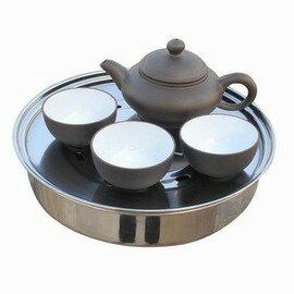 【旅行功夫茶具-紫砂+不鏽鋼-8件/套-1套/組】便攜式迷你組合茶盤旅行茶具 配送拎包(壺*1+杯*3+ 盤(含蓋)*1+包*1+巾*1)-76012