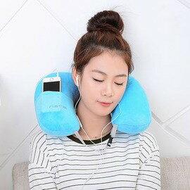 【旅行充氣U型枕-絨-44.5*29.5*17.5cm-2個/組】 植絨戶外旅遊飛機枕舒適汽車枕U型護頸枕-76002